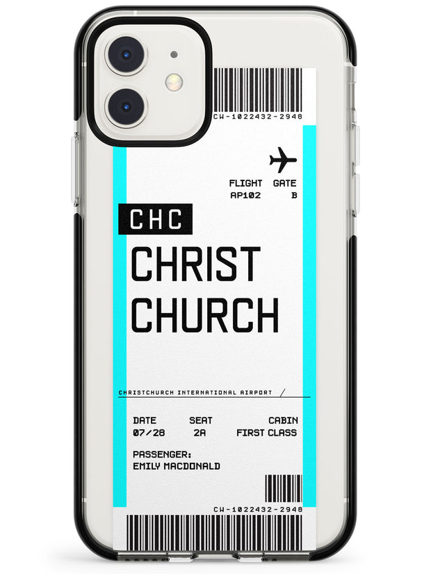 Christchurch Boarding Pass iPhone Case  Black Impact Custom Phone Case - Case Warehouse