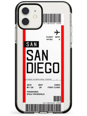 San Diego Boarding Pass iPhone Case  Black Impact Custom Phone Case - Case Warehouse