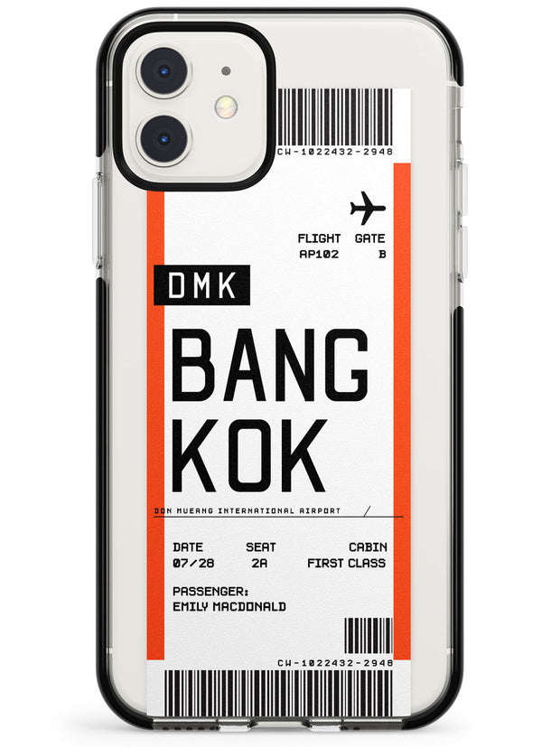 Bangkok Boarding Pass iPhone Case  Black Impact Custom Phone Case - Case Warehouse