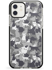 Dark Grey Cat Camouflage Pattern iPhone Case  Black Impact Phone Case - Case Warehouse