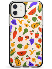 Mixed Kawaii Food Icons - Solid iPhone Case Black Impact Phone Case Warehouse 11