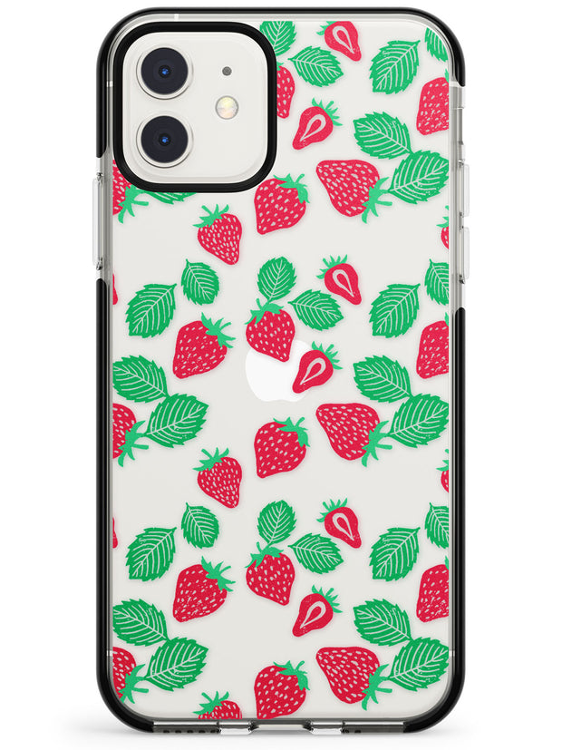 Strawberry Pattern iPhone Case  Black Impact Phone Case - Case Warehouse