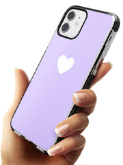 Single Heart White & Pale Purple Black Impact Phone Case for iPhone 11