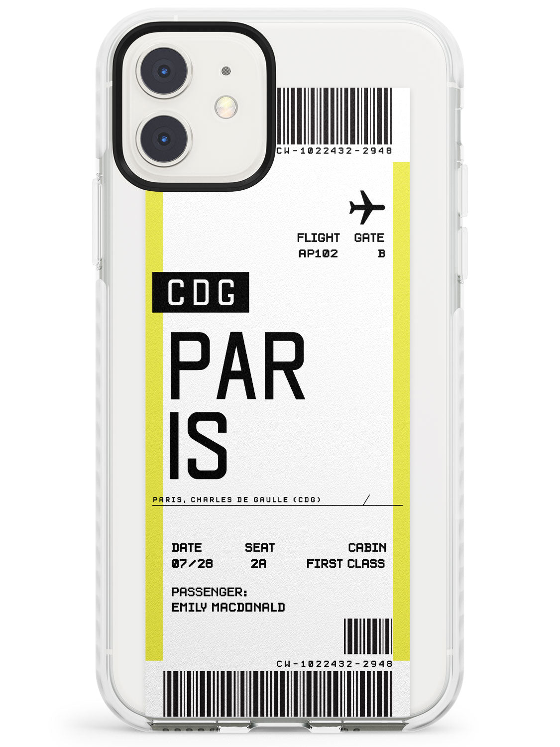 Paris Boarding Pass iPhone Case by Case Warehouse ®