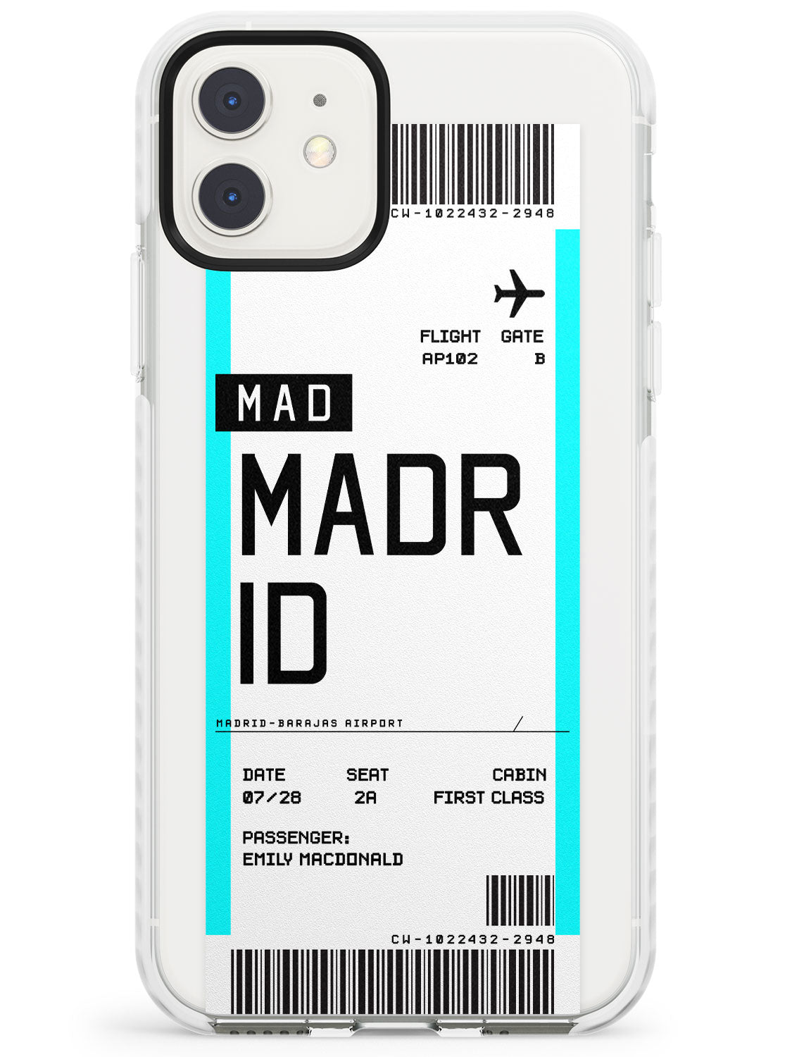 Madrid Boarding Pass iPhone Case by Case Warehouse ®