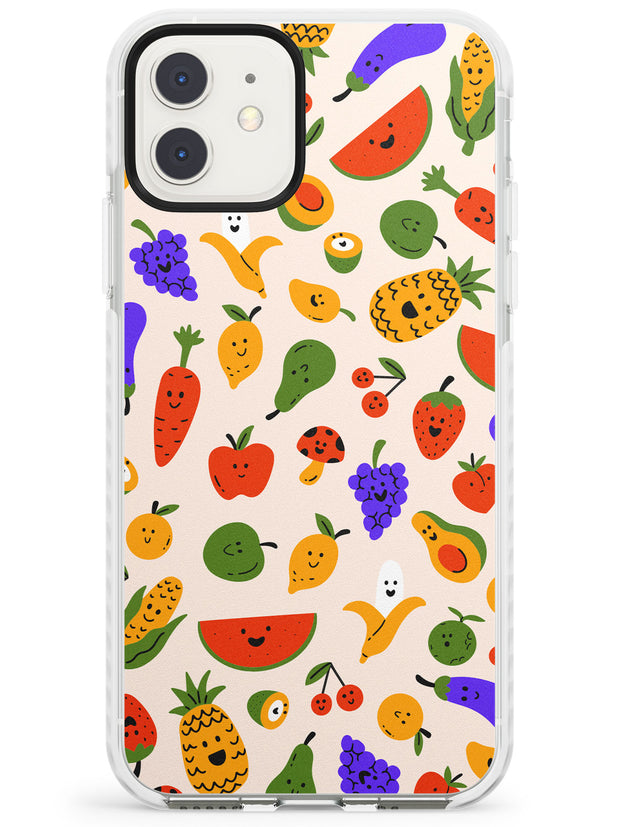 Mixed Kawaii Food Icons - Solid iPhone Case Impact Phone Case Warehouse 11