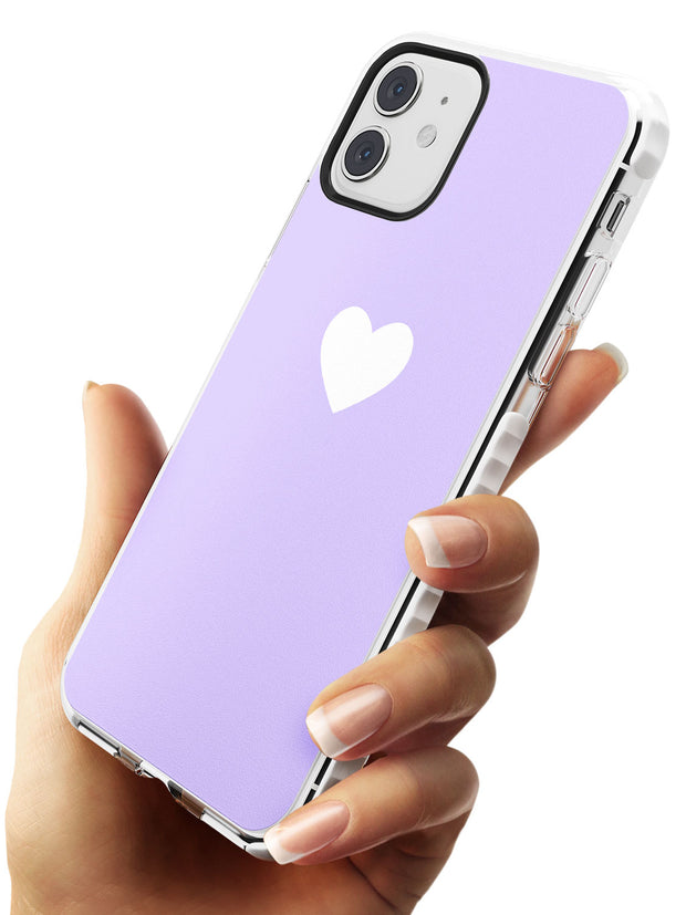 Single Heart White & Pale Purple Impact Phone Case for iPhone 11