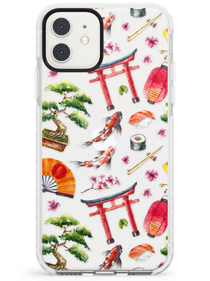 Mixed Japanese Watercolour Pattern - Large iPhone Case by Case Warehouse ®