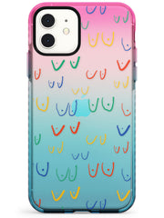Boob Pattern (Mixed Colours) Pink Fade Impact Phone Case for iPhone 11