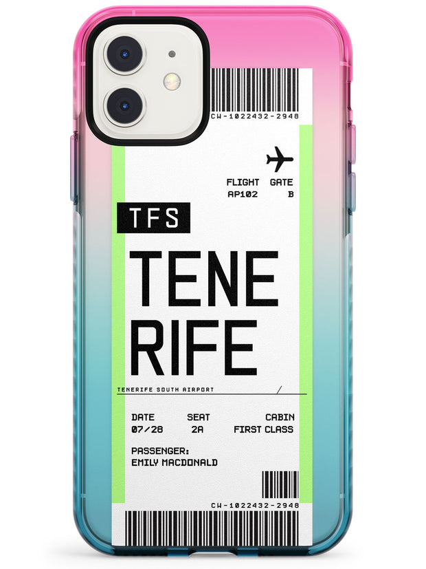 Tenerife Boarding Pass iPhone Case  Pink Fade Impact Custom Phone Case - Case Warehouse