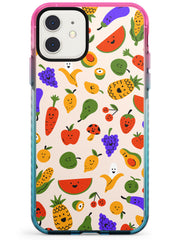 Mixed Kawaii Food Icons - Solid iPhone Case Pink Fade Impact Phone Case Warehouse 11