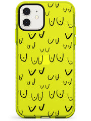 Boob Pattern (Black) Neon Yellow Impact Phone Case for iPhone 11