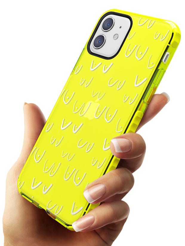 Boob Pattern (White) Neon Yellow Impact Phone Case for iPhone 11