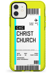 Christchurch Boarding Pass iPhone Case  Neon Impact Custom Phone Case - Case Warehouse