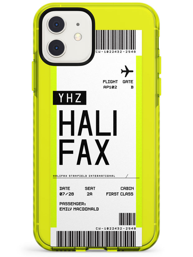 Halifax Boarding Pass iPhone Case  Neon Impact Custom Phone Case - Case Warehouse