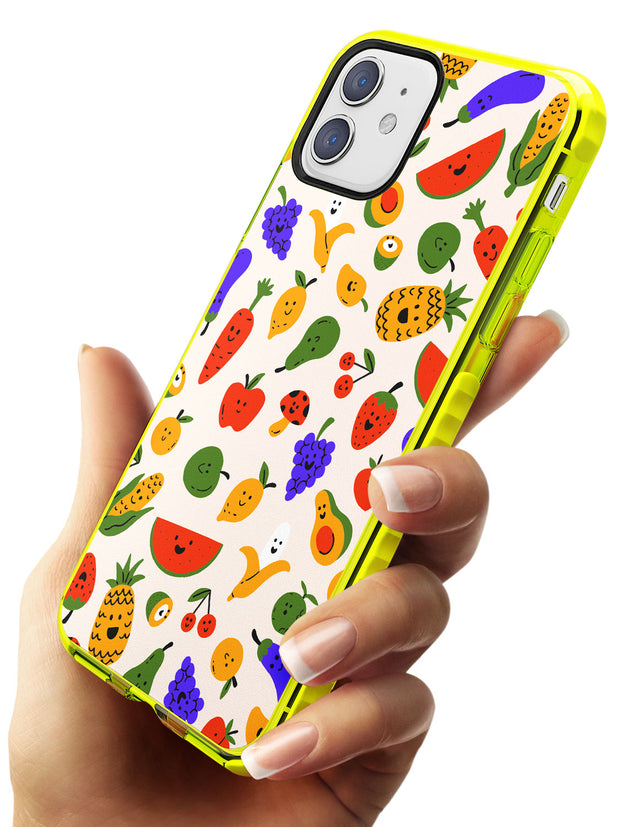 Mixed Kawaii Food Icons - Solid iPhone Case Neon Yellow Impact Phone Case Warehouse 11