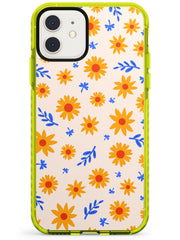 Cute Daisy Pattern - Solid iPhone Case Neon Yellow Impact Phone Case Warehouse 11
