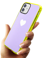 Single Heart White & Pale Purple Neon Yellow Impact Phone Case for iPhone 11
