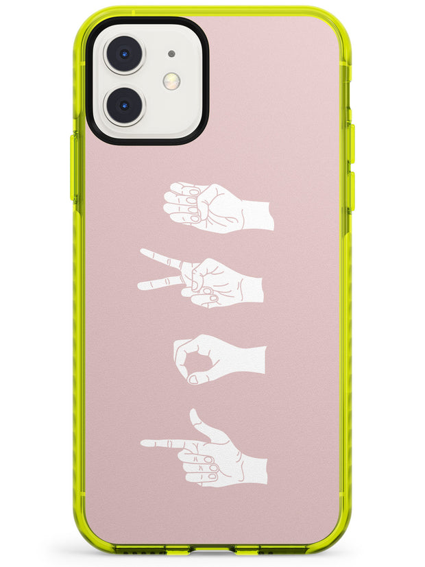LOVE Sing Language Neon Yellow Impact Phone Case for iPhone 11