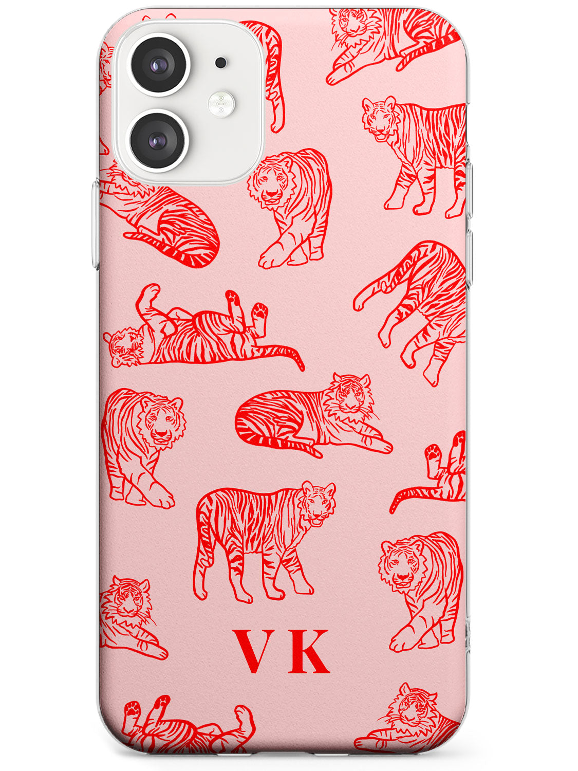 Personalised Red Tiger Outlines on Pink iPhone Case by Case Warehouse ®