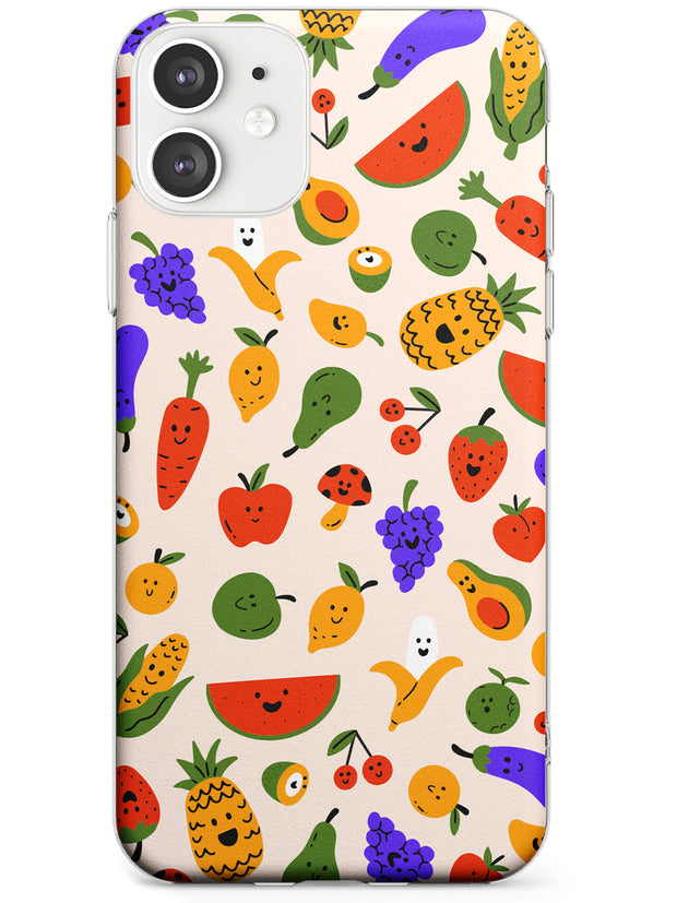 Mixed Kawaii Food Icons - Solid iPhone Case Slim TPU Phone Case Warehouse 11