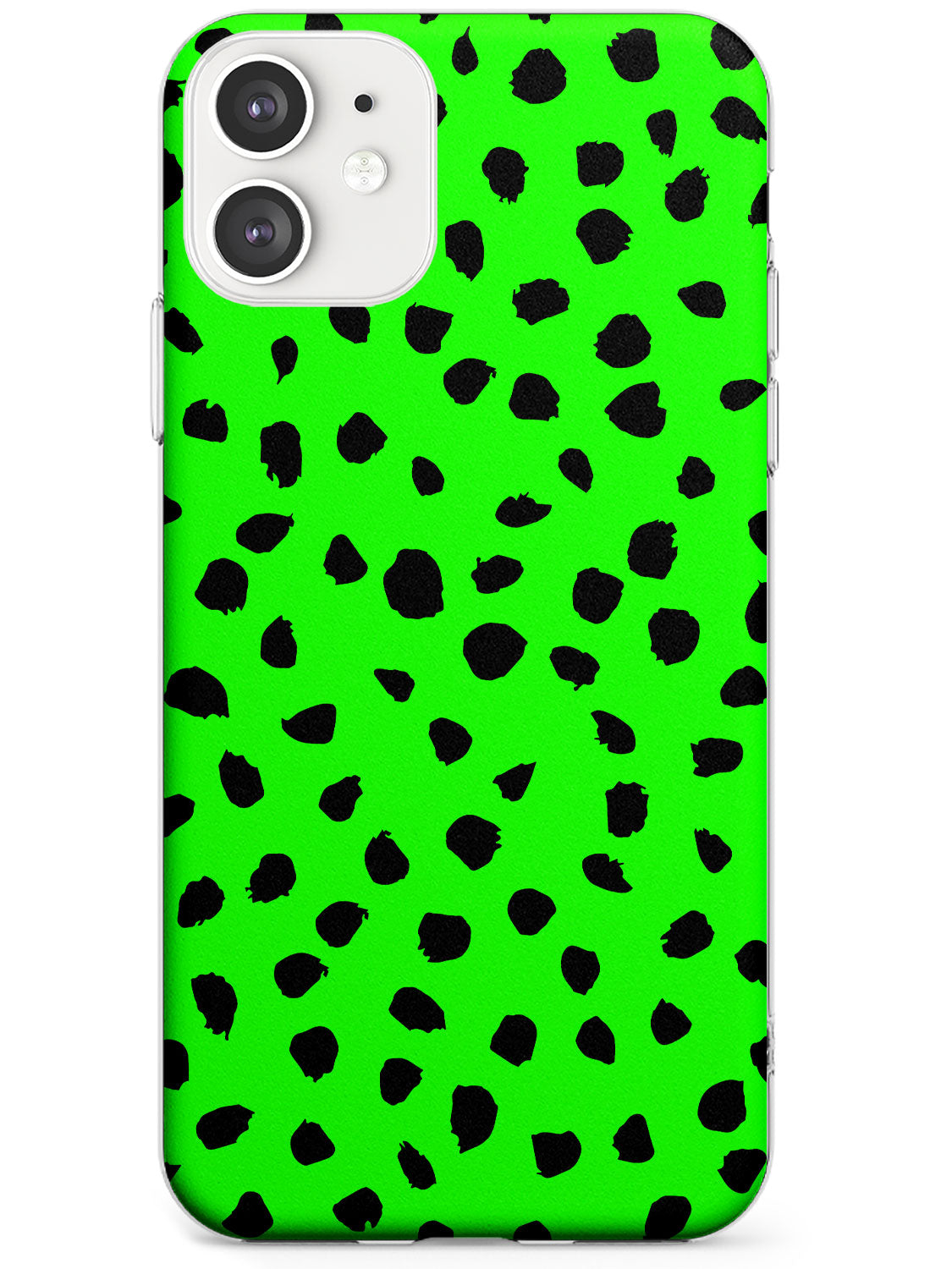Black & Lime Green Dalmatian Polka Dot Spots iPhone Case by Case Warehouse ®