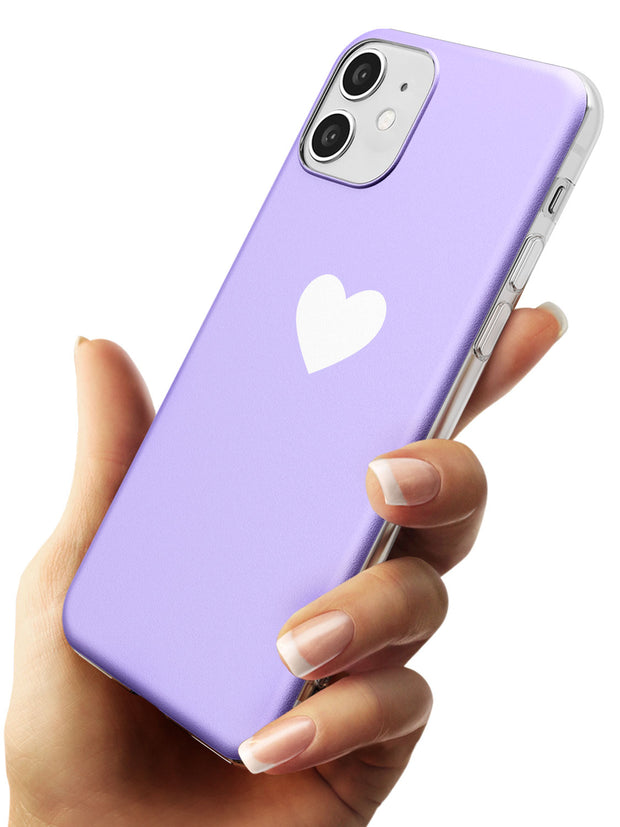 Single Heart White & Pale Purple Slim TPU Phone Case for iPhone 11