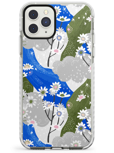 Blue & Grey Daisies Pattern iPhone Case  Impact Case Phone Case - Case Warehouse