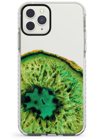 Lime Green Agate Crystal Transparent Design Impact Phone Case for iPhone 11 Pro Max