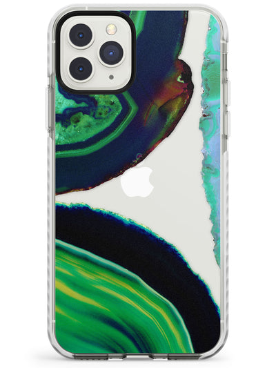 Green & Navy Gemstone Crystal Clear Design Impact Phone Case for iPhone 11 Pro Max
