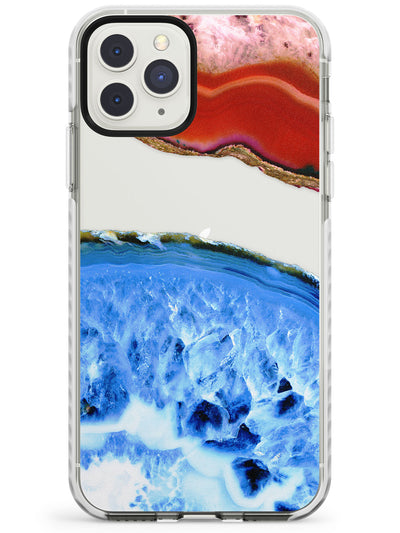 Red & Turquiose Agate Gemstone Clear Design Impact Phone Case for iPhone 11 Pro Max