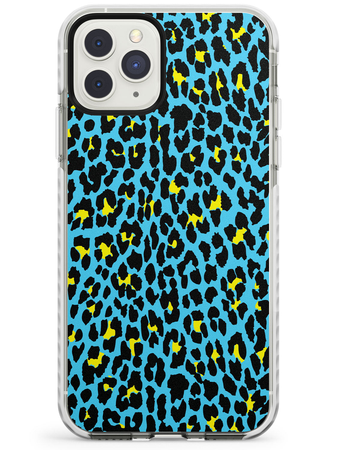 Yellow on Blue Leopard iPhone Case