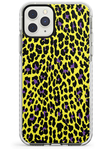 Purple on Yellow Leopard iPhone Case