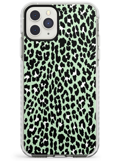 White on Seafoam Green Leopard Print Pattern Impact Phone Case for iPhone 11 Pro Max