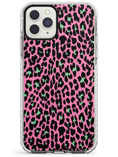 Green on Pink Leopard Print Pattern Impact Phone Case for iPhone 11 Pro Max