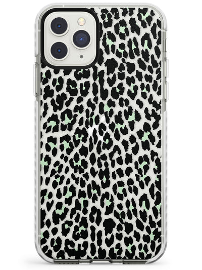 Seafoam Green Leopard Print - Transparent Impact Phone Case for iPhone 11 Pro Max