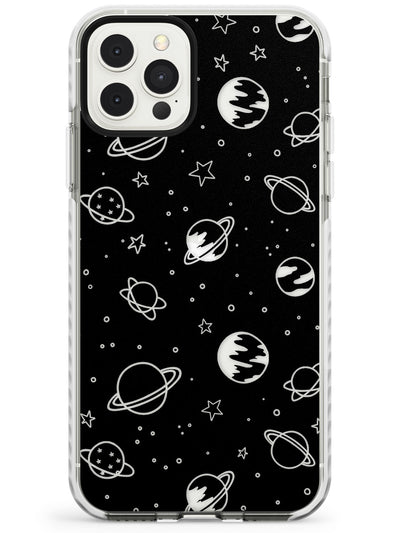 Cosmic Outer Space Design Clear on Black Impact Phone Case for iPhone 11 Pro Max