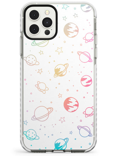 Outer Space Outlines: Pastels on White Slim TPU Phone Case for iPhone 11 Pro Max