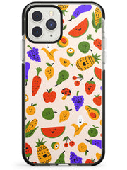 Mixed Kawaii Food Icons - Solid iPhone Case Black Impact Phone Case Warehouse 11 Pro Max