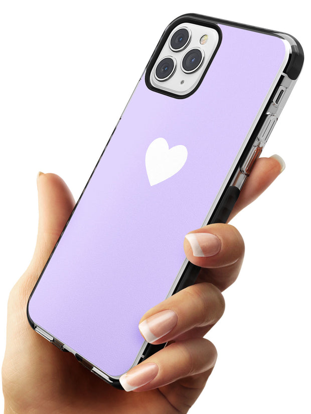 Single Heart White & Pale Purple Black Impact Phone Case for iPhone 11 Pro Max
