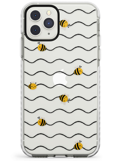 Sweet as Honey Patterns: Bees & Stripes (Clear) Impact Phone Case for iPhone 11 Pro Max