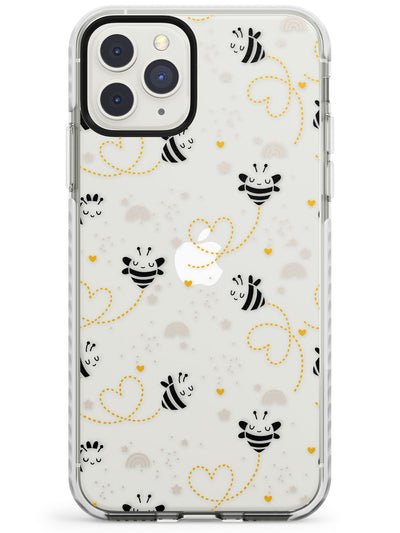 Sweet as Honey Patterns: Bees & Hearts (Clear) Impact Phone Case for iPhone 11 Pro Max