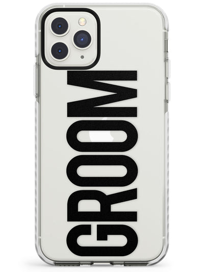 Groom Text - Transparent Wedding Design Impact Phone Case for iPhone 11 Pro Max