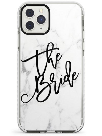 The Bride Cursive on Marble Wedding Design Impact Phone Case for iPhone 11 Pro Max