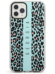Custom Baby Blue & Pink Leopard Spots iPhone Case