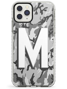 Light Grey Camo Solid Monogram iPhone Case