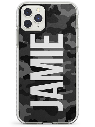 Vertical Name Personalised Black Camouflage Impact Phone Case for iPhone 11 Pro Max