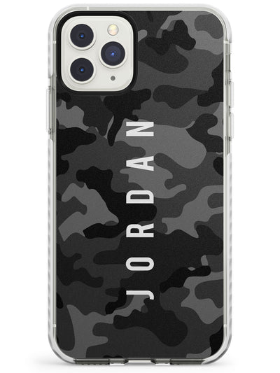 Small Vertical Name Personalised Black Camouflage Impact Phone Case for iPhone 11 Pro Max
