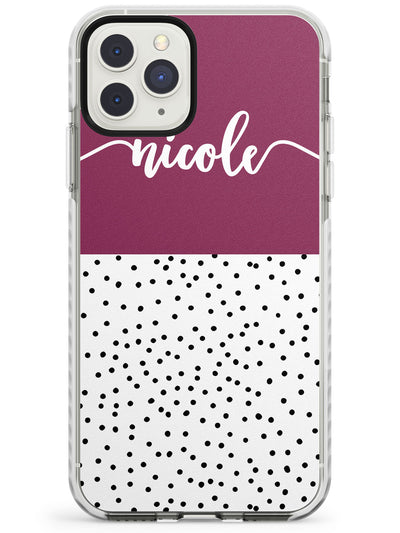 Maroon Border & Dots iPhone Case  Impact Case Custom Phone Case - Case Warehouse