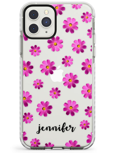 Pink Flax Flowers & Cursive iPhone Case  Impact Case Custom Phone Case - Case Warehouse